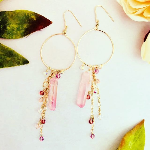 rose quartz drip earrings