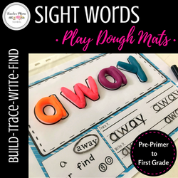 Playdough Mat Sight Words Dolch Pre-Primer to First Grade