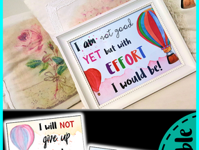 Growth Mindset Posters | EDITABLE | - Hot Air Balloon