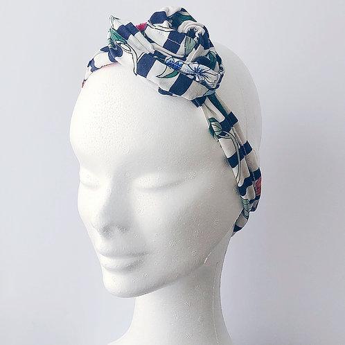 hairband blue stripesw and flower