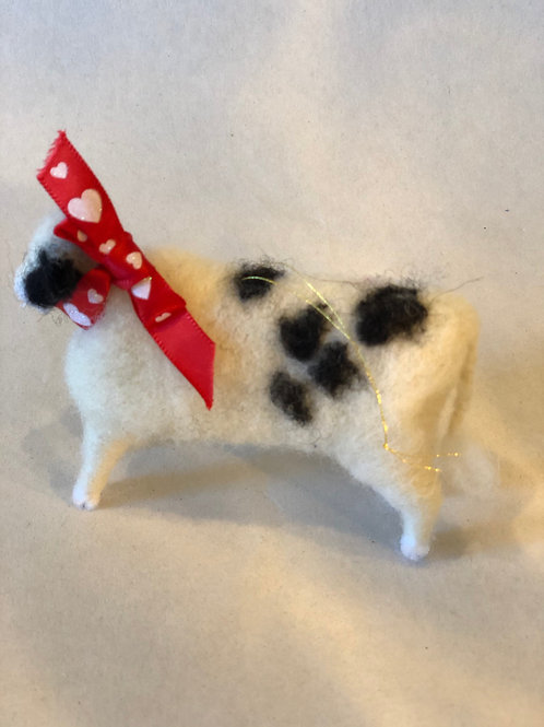 Hand Felted Cow