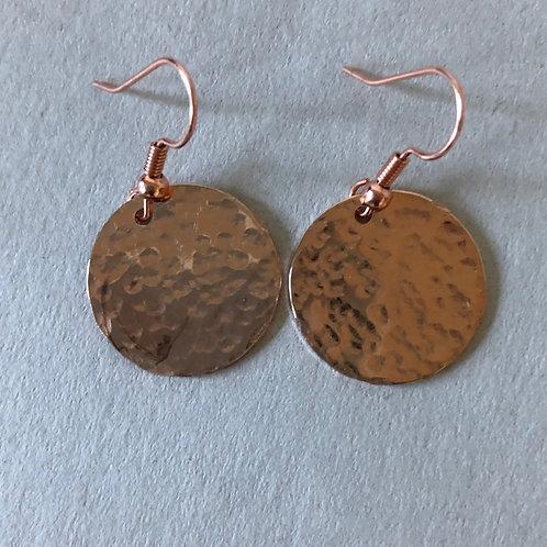 Hammered Circle fishhook earrings