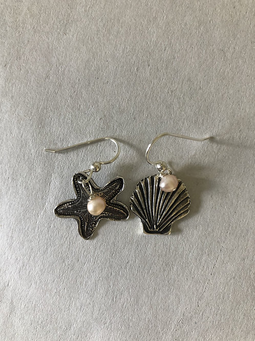Fine Silver  Mixed Sea Set Earrings