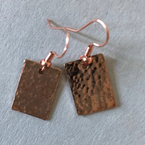 Hammered Rectangle fishhook earring