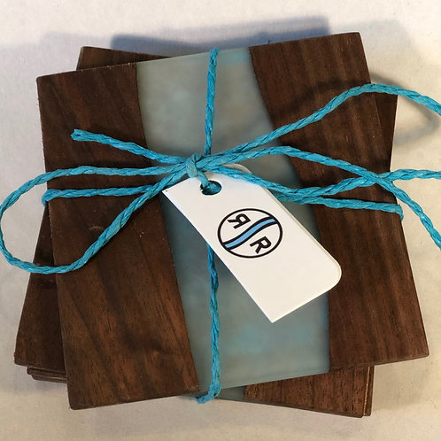 Black Walnut with Resin Coasters