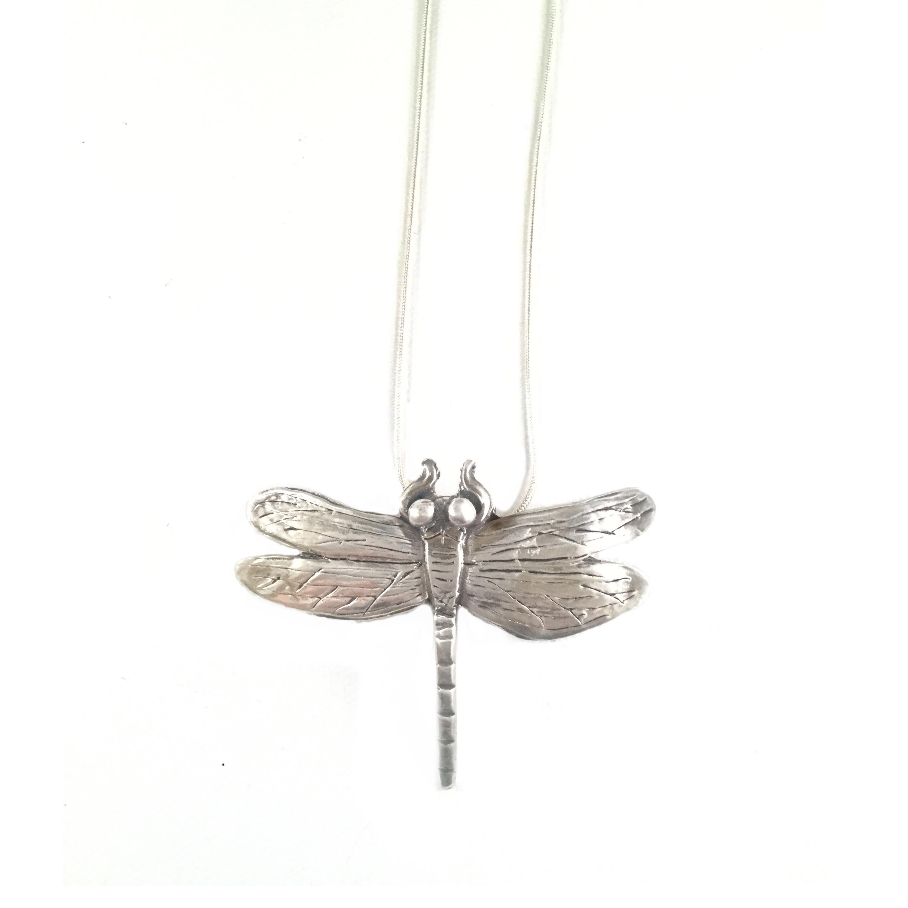 Silver Dragonfly Necklace Ccmoa