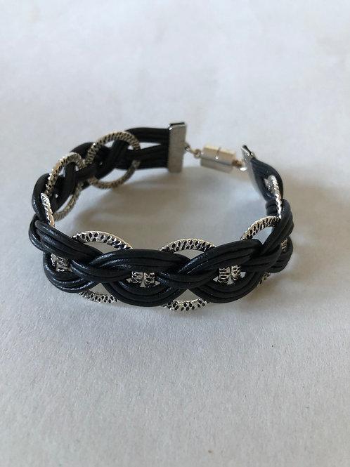 Reversible Leather Hammered Ring Bracelet
