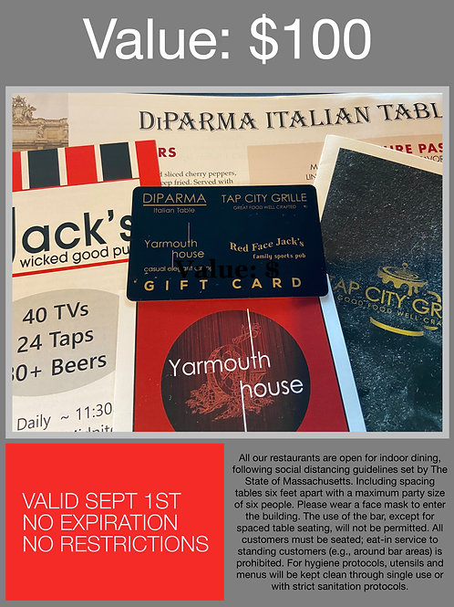 $100 Restaurant Gift Card - Interchangeable at Four (4) Delectable Restaurants!