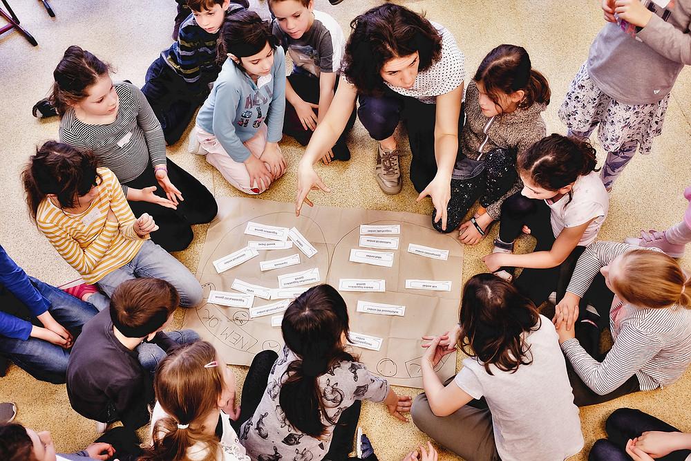 Barnahajú nő fehér alapon fekete pöttyös felsőben gyerekeknek magyaráz, akik egy nagy barna papír körül ülnek körben a földön. A papírra kis fehér feliratok vannak két halmazba rendezve.