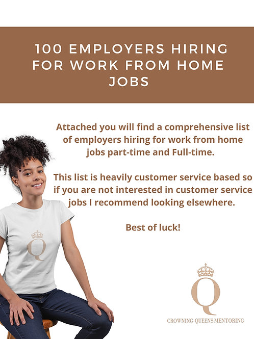 Work From Home Job List PDF