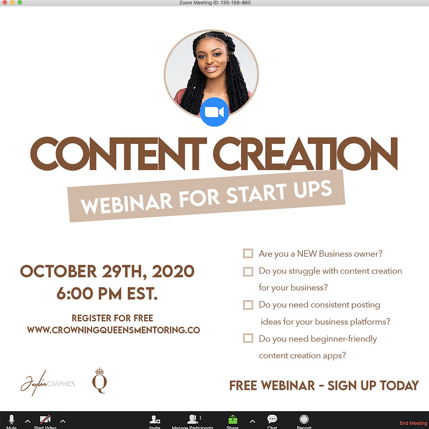 Content Creation Webinar for Start Up Business Owners