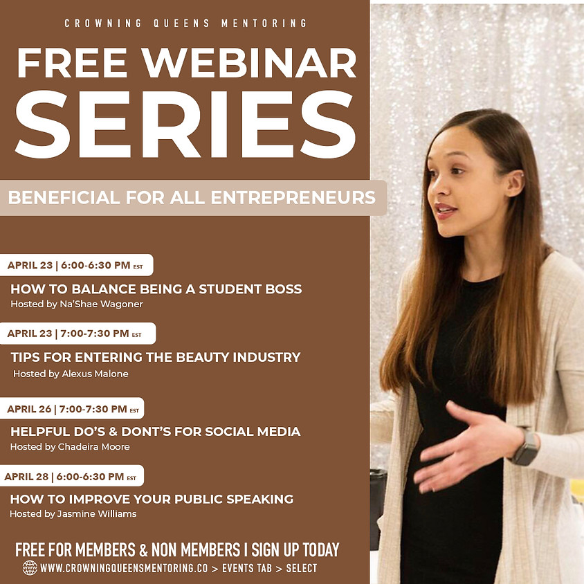 FREE Webinar Series: How to improve your Public Speaking