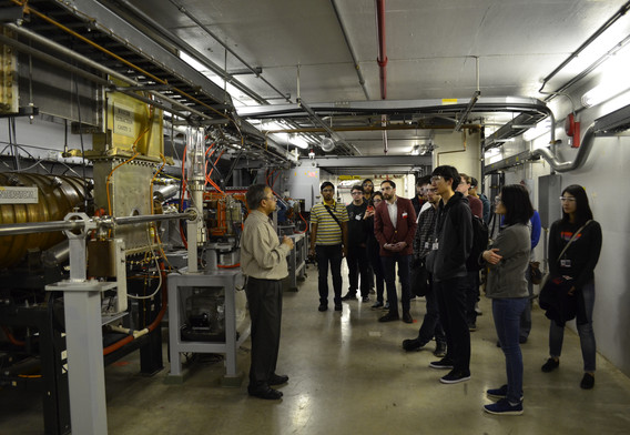 The group with APS tour Guide, Mohan Ramanathan, in side the synchtron ring.  PC Chelsea Liu