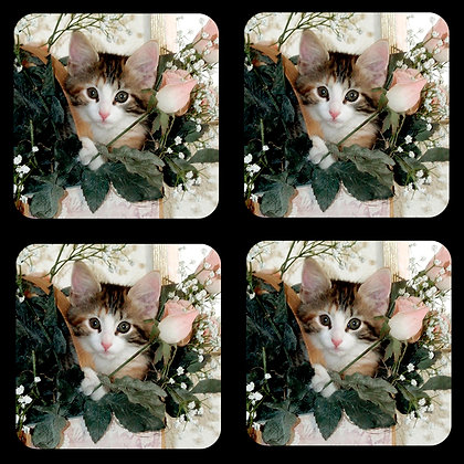 Cat and Roses Coaster Set of 4