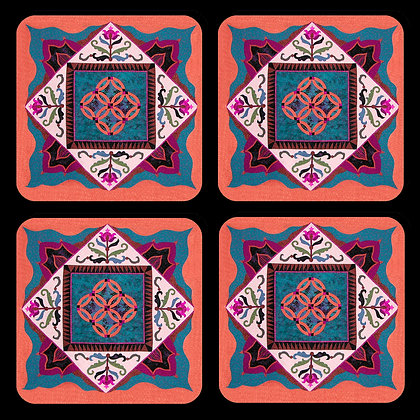 Southwest Quilt Block Design Coaster Set of 4