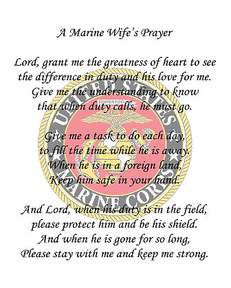 A Marine Corps Wife's Prayer on Cotton Fabric