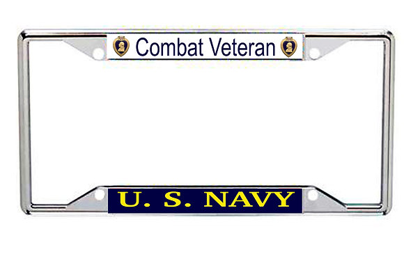US Navy Combat Veteran Purple Heart Every State License Frame