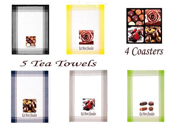 5 Eat More Chocolate Tea Towels + 4 Coasters