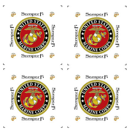 """US Marine Corps 4"""" Emblem Quilt Blocks with White Background 4 per pack."""