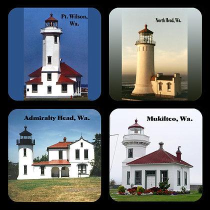 Washington State Lighthouses Coaster Set of 4
