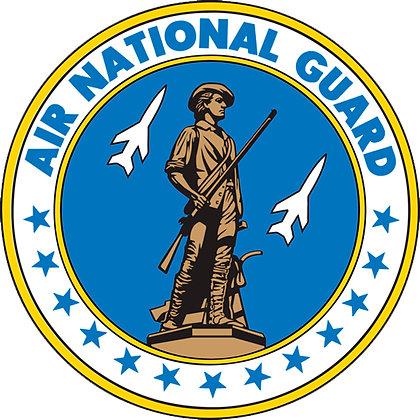 "US Air National Guard Emblem 8"" Quilt Square on Cotton"