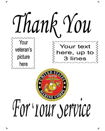 "Thank You For Your Service US Marine Corps 10"" x 14"" Personalized Panel"
