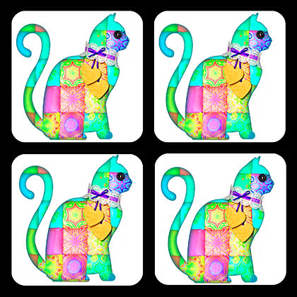 Quilted Cat Coaster Set of 4