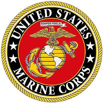 "US Marine Corps Emblem Cotton  8x8"" Quilting Fabric"