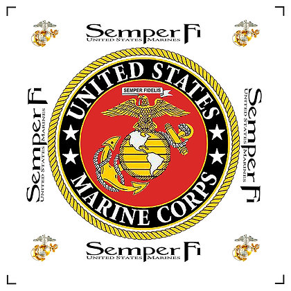 "8"" Marine Corps Semper Fi Quilt Block White Background"