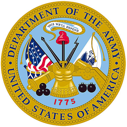 """US Army Emblem Cotton  8x8"""" Quilting Fabric"""