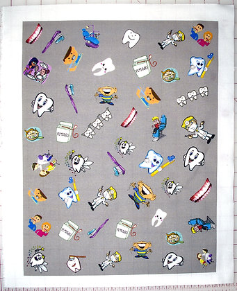 Dental Themed Cotton Fabric Mask Panel with Gray Background