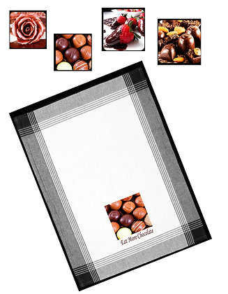 Eat More Chocolate Tea Towel and Coaster Set #1