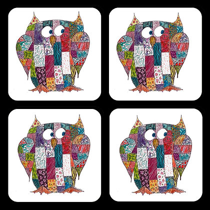 Quilted Owl Coaster Set of 4