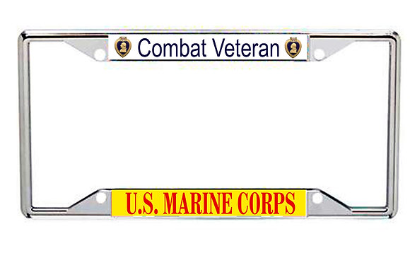 US Marine Corps Combat Veteran Purple Heart Every State License Frame