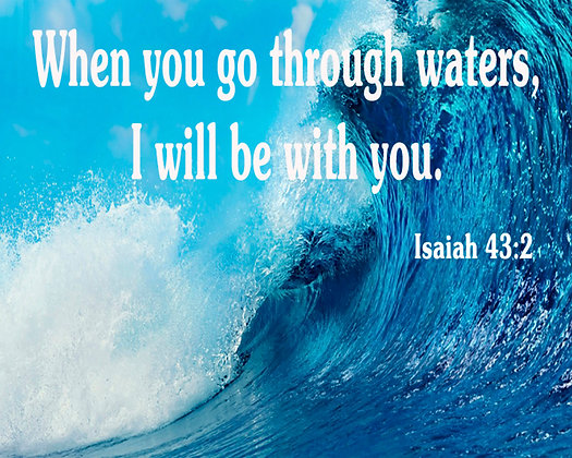 "Isaiah 43:2 Bible Verse Printed on a 8x10"" Cotton Block"
