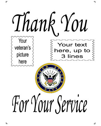 "Thank You For Your Service US Navy 10"" x 14"" Personalized Panel"