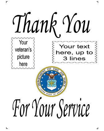 "Thank You For Your Service US Air Force 10"" x 14"" Personalized Panel"