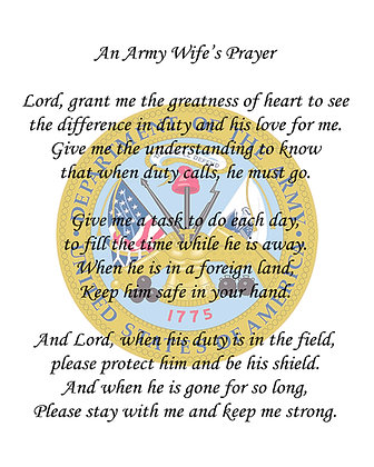 An Army Wife's Prayer on Cotton Fabric