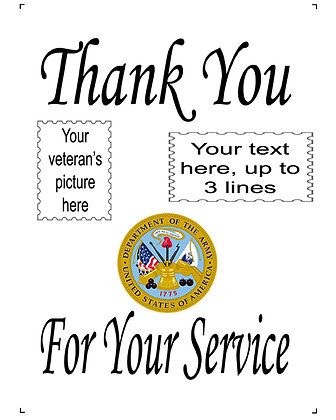 "Thank You For Your Service US Army 10"" x 14"" Personalized Panel"