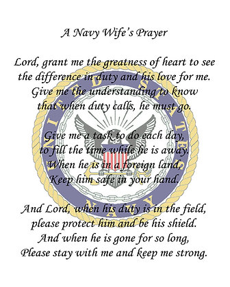 A Navy Wife's Prayer on Cotton Fabric