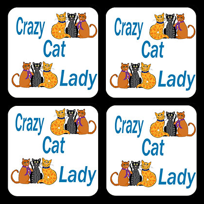 Crazy Cat Lady Coaster Set of 4