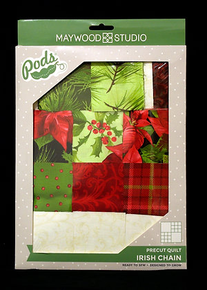 Poinsettias & Pine Irish Chain Quilt Pre-cut Kit PODS