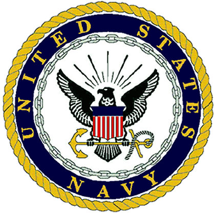 "US Navy Emblem Cotton  8x8"" Quilting Fabric"