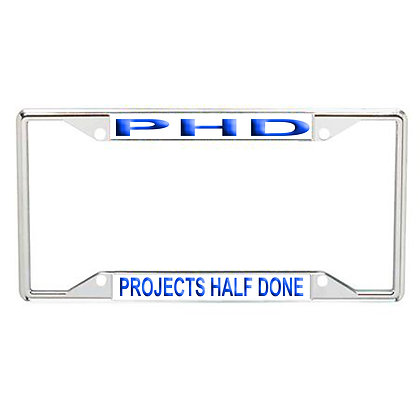 PHD Projects Half Done Every State License Frame