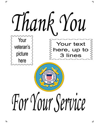 "Thank You For Your Service Coast Guard 10"" x 14"" Personalized Panel"