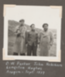 D.W. Parker, John Robinson, and Langston Hughes (Aragon), September 1967. Veterans of the Abraham Lincoln Brigade photograph collection. The Bancroft Library, BANC PIC 1988.047, folder 39