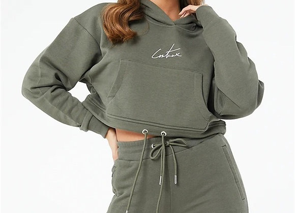 Oversize Pocket Hooded Short Crop Sweat Khaki