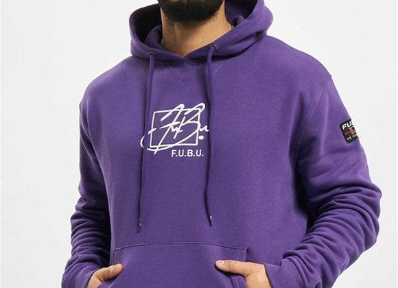 Front Signature Embroidery Hooded Sweat Purple