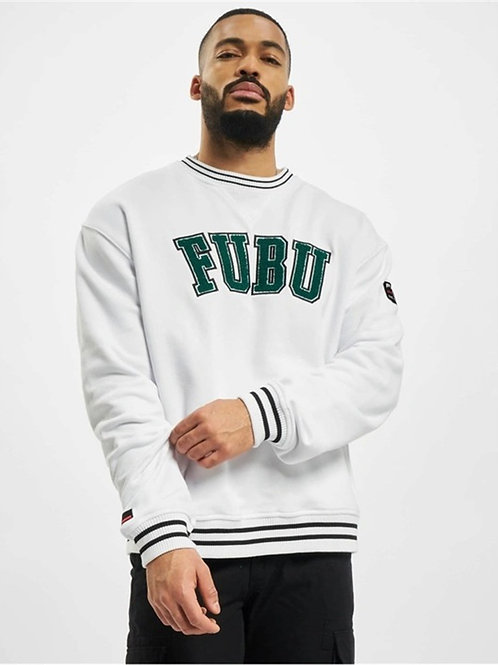 Front Printed College Sweat White