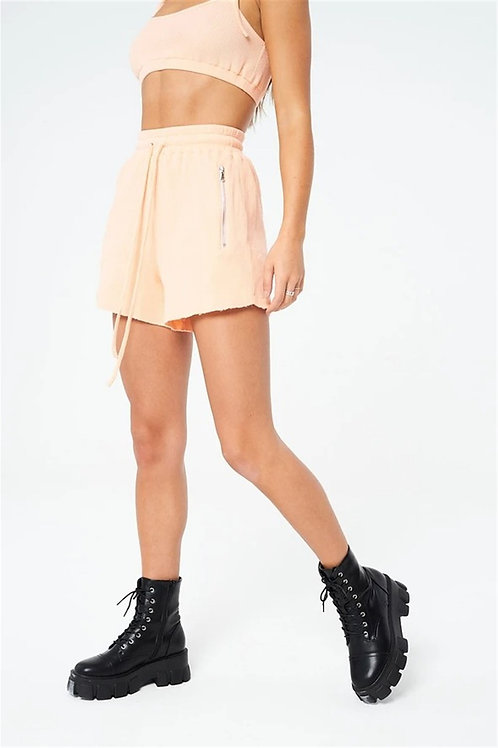 Waffle Fabric Combed Cotton Shorts Beige